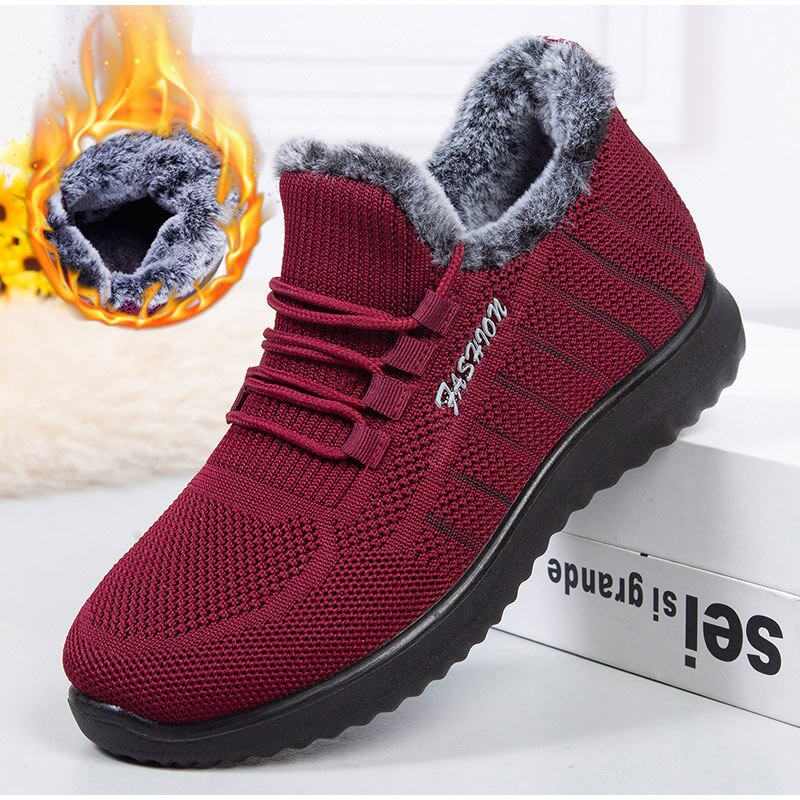 Women Sneakers Winter Fur Plush Ladies Flats Non-slip Zapatos De Mujer  Casual Female Vulcanized Shos Lace-up Hot Sale