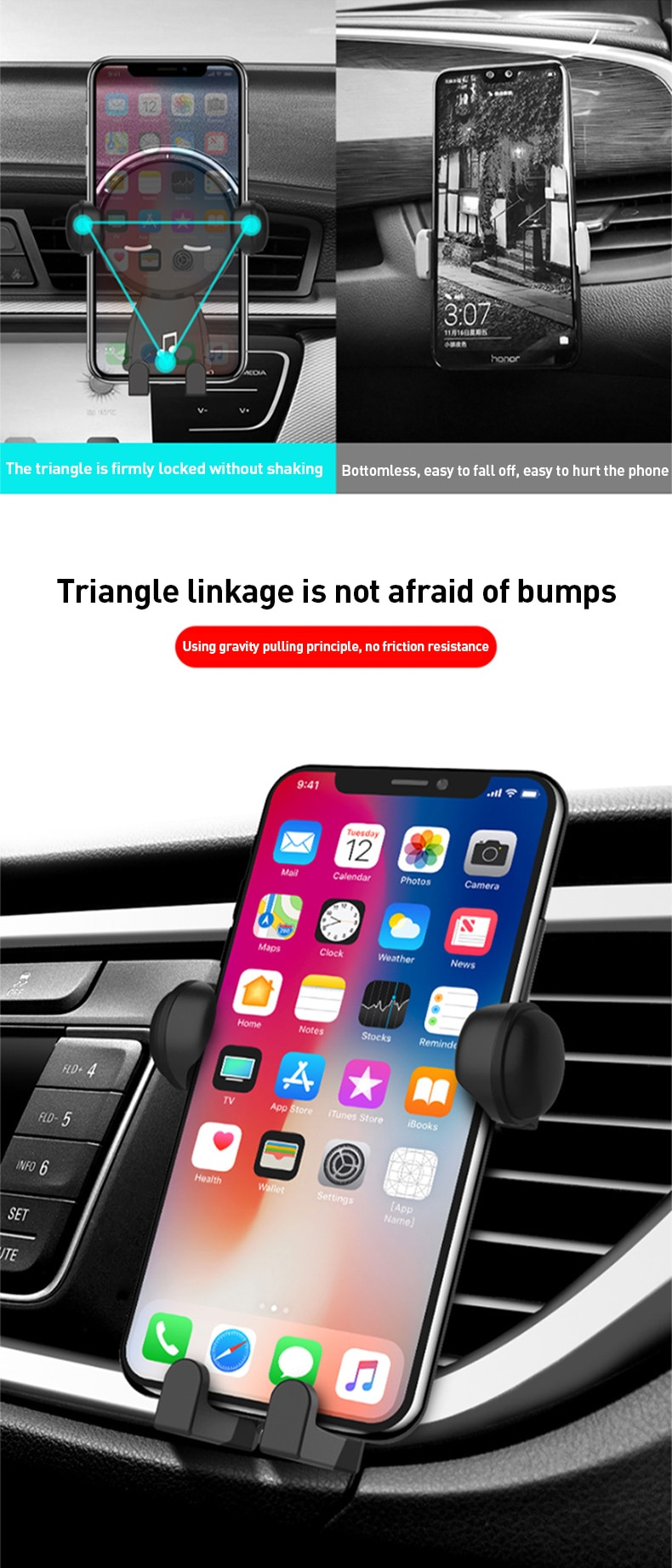 Z10 Gravity Car Phone Holder Air Vent Mount Cartoon Creative Navigation Cellphone Stand For iphone Auto Accessories