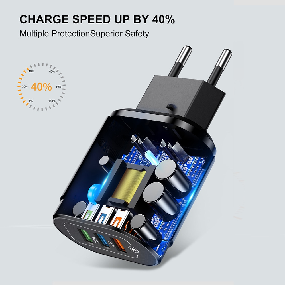 USB Charger Universal Wall Charging Adpter For iPhone XR Huawei Samsung Xiaomi 9 Mobile Phone Accessories 3 Ports EU/US Chargers