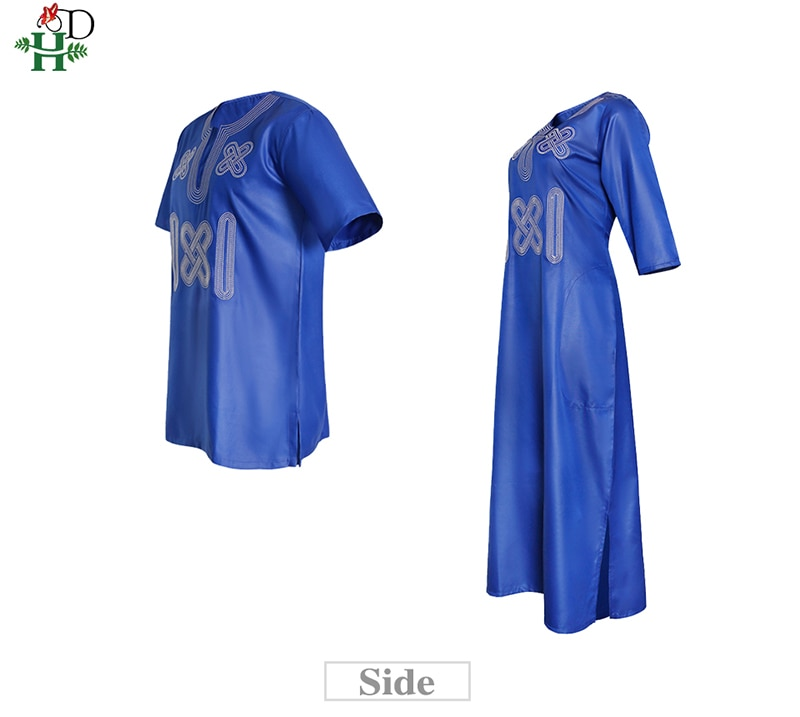 H&D 2021 Fashion Couple Clothes African Dress For Women Embroidery Dashiki Men Shirt Short Sleeve Tops Wedding Party Outfit Robe